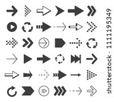black arrows set. pictures... | Shutterstock . vector #1111195349