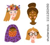 set of girls of different... | Shutterstock .eps vector #1111202450