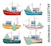 fishing boats set. boat... | Shutterstock .eps vector #1111207769