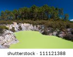 This image shows Devil's Bath, Wai-O-Tapu Thermal Wonderland, Rotorua, New Zealand - stock photo
