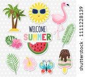 set of cute summer stickers.... | Shutterstock .eps vector #1111228139