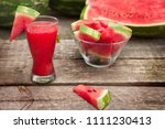 cold watermelon juice in glass... | Shutterstock . vector #1111230413