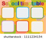 school timetable  a weekly... | Shutterstock .eps vector #1111234154