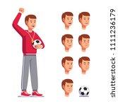 soccer coach man shouting... | Shutterstock .eps vector #1111236179
