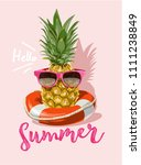 summer with pineapple in... | Shutterstock .eps vector #1111238849