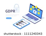 gdpr concept. can use for web... | Shutterstock .eps vector #1111240343