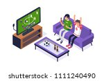 football fans watching game on... | Shutterstock .eps vector #1111240490