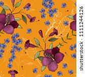 blossom floral seamless pattern.... | Shutterstock .eps vector #1111244126