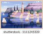 mediterranean romantic... | Shutterstock .eps vector #1111245320