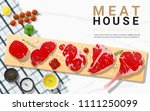 raw beef steaks  tenderloin ... | Shutterstock .eps vector #1111250099