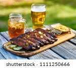 st louis style bbq ribs with... | Shutterstock . vector #1111250666