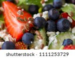 close up of tasty salad with... | Shutterstock . vector #1111253729