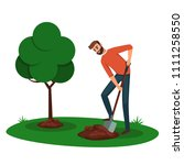 man digging a hole for a tree.... | Shutterstock .eps vector #1111258550