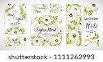 wedding floral template invite  ... | Shutterstock .eps vector #1111262993