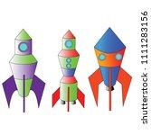spaceship icon set. cartoon set ... | Shutterstock .eps vector #1111283156