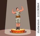 heroic pose of strong man | Shutterstock .eps vector #1111283864