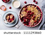 cherry  red berry crumble in... | Shutterstock . vector #1111293860