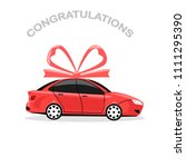 red auto with bow isolated on... | Shutterstock .eps vector #1111295390