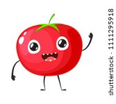 red tomato is waving hand | Shutterstock .eps vector #1111295918