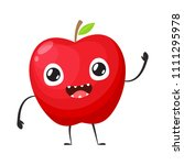 red apple is waving hand | Shutterstock .eps vector #1111295978