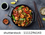 stir fry noodles with... | Shutterstock . vector #1111296143