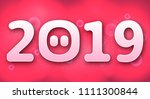 happy new year 2019  funny card ... | Shutterstock .eps vector #1111300844