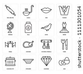 set of 16 icons such as egg ...
