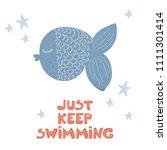 cartoon cute blue fish and... | Shutterstock . vector #1111301414