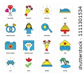 set of 16 icons such as island  ...