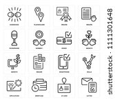 set of 16 icons such as letter  ...