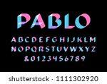 transparent font. vector... | Shutterstock .eps vector #1111302920