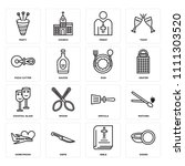 set of 16 icons such as dishes  ...
