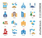 set of 16 icons such as car ... | Shutterstock .eps vector #1111303838