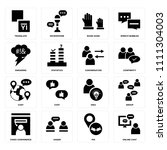 set of 16 icons such as online... | Shutterstock .eps vector #1111304003