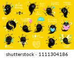 funny monster actions big... | Shutterstock .eps vector #1111304186