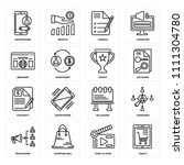 set of 16 icons such as tablet  ...