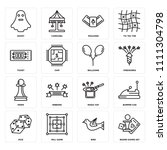 set of 16 icons such as board...