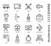 set of 16 icons such as bed ...