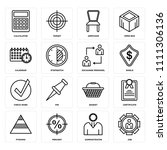 set of 16 icons such as job ...