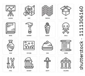 set of 16 icons such as columns ...
