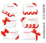 set of card notes with red gift ... | Shutterstock .eps vector #111130658