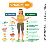 vitamin b12 rich food... | Shutterstock .eps vector #1111307039