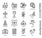 set of 16 icons such as step ...