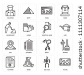set of 16 icons such as picture ...