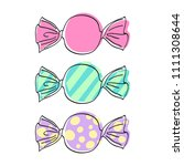 wrapped candies set   sketch... | Shutterstock .eps vector #1111308644