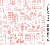 city life pattern  stylish line ... | Shutterstock .eps vector #1111309940