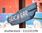 caribbean wooden beach bar sign | Shutterstock . vector #111131198