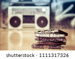 audio cassettes stacked and... | Shutterstock . vector #1111317326