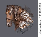 Stock vector vector illustration portrait of the brown horse with peony flowers and fern leaves horse club 1111325339