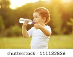 baby boy with brown hair... | Shutterstock . vector #111132836